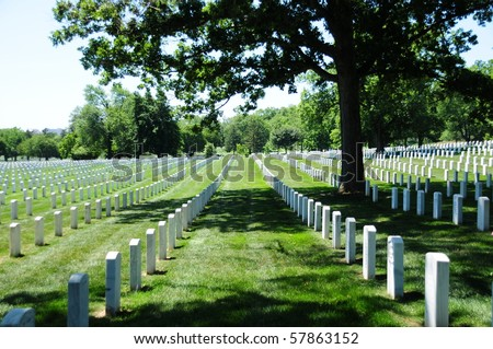view of tombstone rows at Arlington National Cemetery