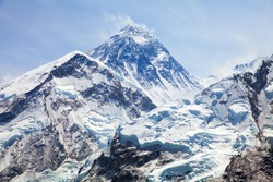 View of top of Mount Everest from Kala Patthar, way to mount Everest base camp, khumbu valley - Nepal