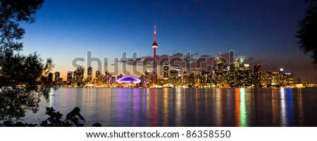 View of Toronto cityscape at night taken from Central Island.