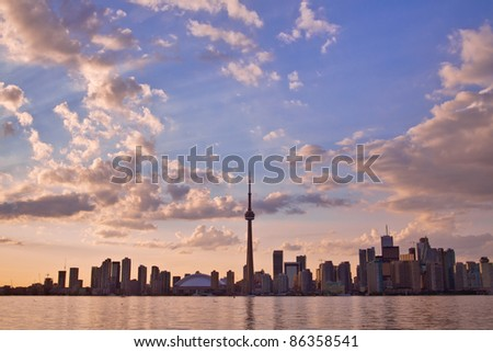 View of Toronto cityscape during sunset taken from Central Island.