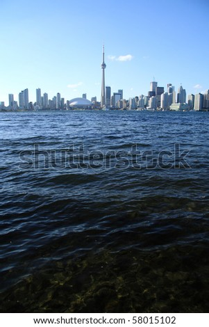 View of Toronto cityscape from Central Island