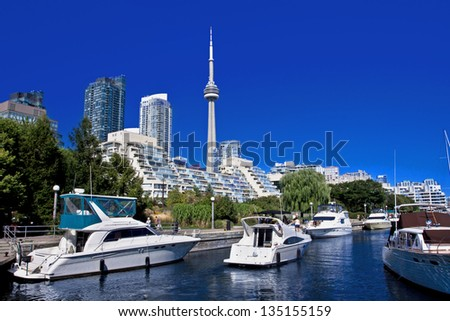 View of Toronto Waterfront with blue sky and Canada Tower as background