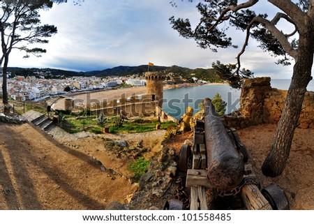 View of Tossa de Mar village from ancient castle. Costa Brava. Spain - stock photo