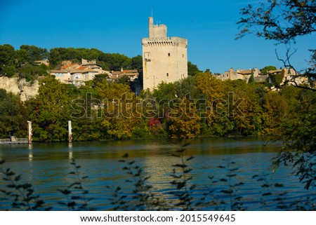 View of Tour Philippe Le Bel in France, Villeneuve lez Avignon at autumn Stock fotó ©