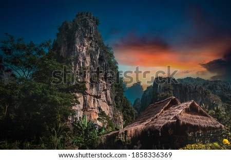 View of tourist tent at sunset in Northern part of Thailand and Adventure travel active lifestyle freedom outdoors. ストックフォト ©