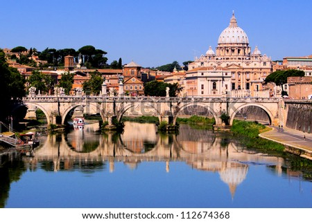 View of toward Vatican City from Ponte Umberto I Rome Italy