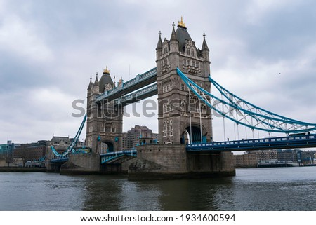 View of Tower bridge, central London, from the South bank of the Thames
