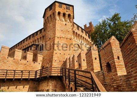 view of towers of medieval Gradara castle in Marches region of Italy