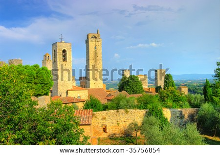 view of towers San Gimignano - medieval town of Tuscany