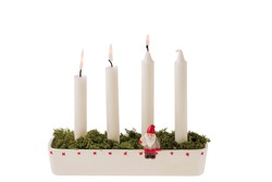 View of traditional advent candlestick with three lighted candle  symbolizing third advent isolated  on white background.