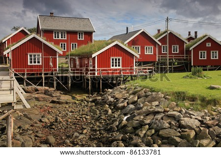 view of traditional fisherman's houses on Lofoten islands, Norway