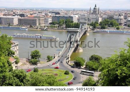 view of traffic circle and chain bridge in Budapest, Hungary