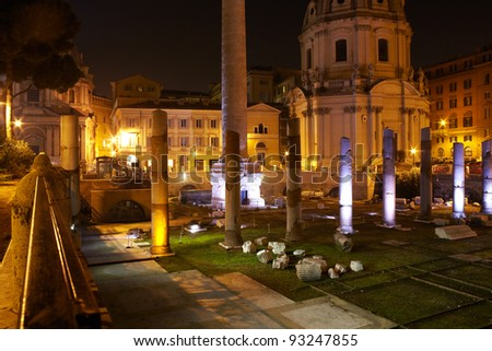 View of Trajan's column and Basilica Ulpia, Roman Forum