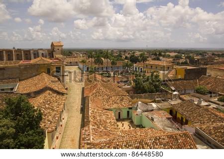 View of Trinidad street, one of UNESCOs World Heritage sites since 1988. Sancti Spiritus Province, Cuba.