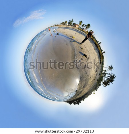 View of tropical beach micro sphere with coconut palm trees