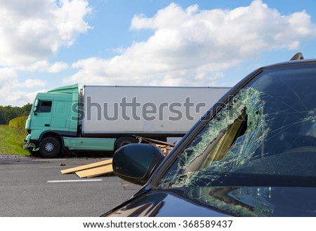 View of truck in an accident with car #368589437