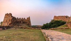 View of Tughlaqabad Fort ,a ruined fort in Delhi, built by Ghiyas-ud-din Tughlaq,