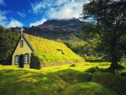 View of turf church Hofskirkja, Iceland, small village Hof, Europe