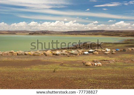 View of Turkana Village, Kenya - stock photo