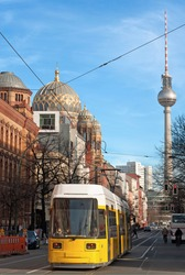 View of Tv Tower of Berlin throught a street - Germany