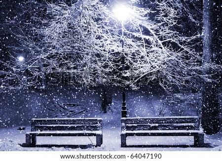 View of two benches and shining lantern through snowing. Blue tone. Night shot.