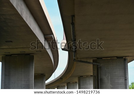 View of Two Curving Freeway Overpass From Underneath in Minneapolis Minnesota #1498219736