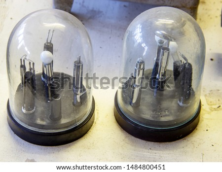 View of two old electrons tubes #1484800451