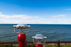 View of two tower viewers looking towards the estuary of the Saint Lawrence river, in Rimouski, Canada