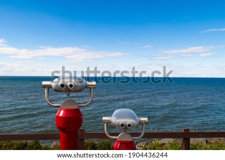 View of two tower viewers looking towards the estuary of the Saint Lawrence river, in Rimouski, Canada Photo stock ©