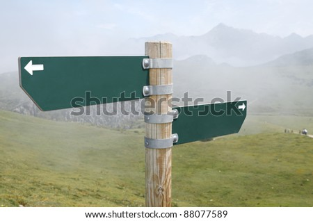 view of two wooden directional signs on a pole - stock photo