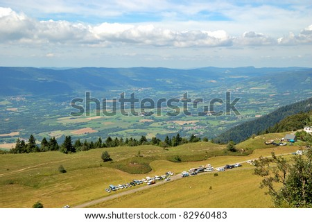 View of typical landscape of Bugey, Ain, France from Le Grand Colombier Mount Pass.
