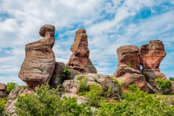 View of unique rock sculptures, Belogradchik Rocks, Bulgaria. A beautiful and exquisite natural phenomenon, unique to the Balkans and an important feature in Europe.