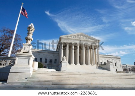 View of United States Supreme Court Building, Washington, DC.