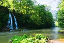 view of Vadu Crisului waterfall in Apuseni mountains
