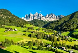 View of Val di Funes with the Chruch of Santa Maddalena in the Dolomites Mountains. UNESCO world heritage in South Tyrol, Italy