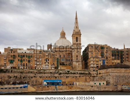 View of Valletta from Marsamxett Harbour. Malta - stock photo