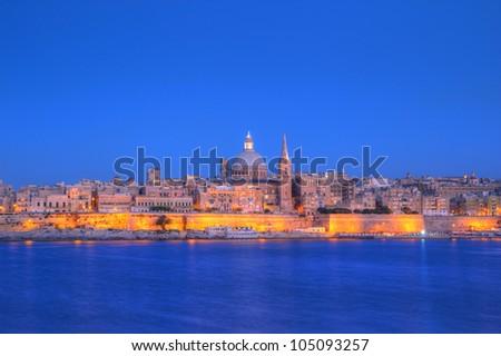View of Valletta with church dome, Malta
