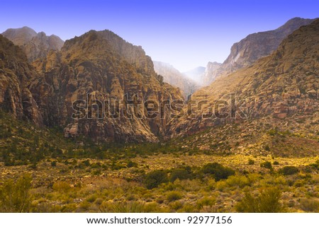 View of valley with magic light. Nevada, USA