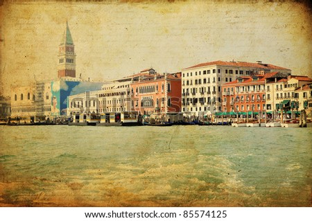 View of Venetian Grand Channel, retro style photo. - stock photo