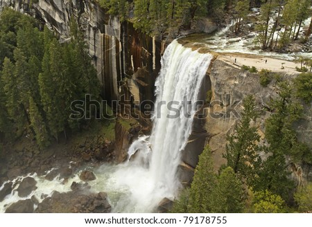 View of Vernal Falls in its full spring glory as seen from Clark Point on the John Muir Trail in Yosemite National Park, California
