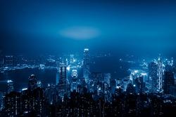view of victoria harbor in Hong Kong,China.
