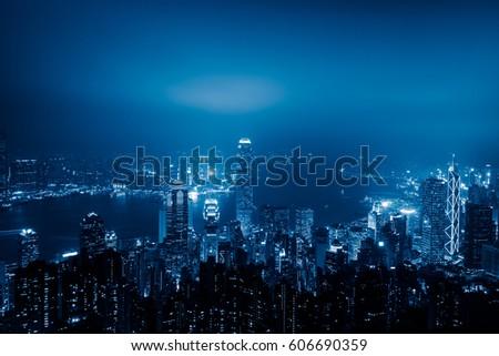 view of victoria harbor in Hong Kong,China. #606690359