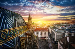 View of Vienna from the roof of St. Stephen's Cathedral, Vienna, Austria. St. Stephen's Cathedral is a symbol and landmark of the city of Vienna.