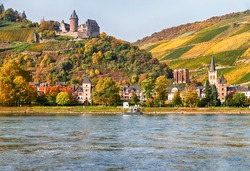 View of village Bacharach on the banks of the Rhine in autumn, Rhine Valley, Rhineland-Palatinate, Germany.
