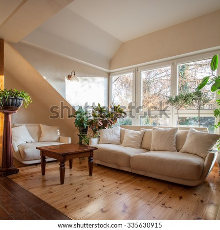 View of vinted and bright living room #335630915
