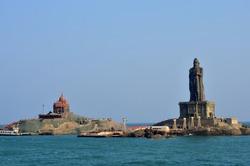 View of Vivekananda rocks and Thiruvalluvar statue from Kanyakumari temple at the southern tip of mainland India at Kanyakumari, India. The statue stands 400 meters from the coastline of Kanyakumari.