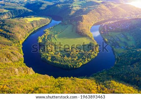 View of Vltava river horseshoe shape meander from Solenice viewpoint, Czech Republic. Zduchovice, Solenice, hidden gem among travel destinations, close to Prague, Czechia Stock photo ©