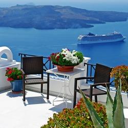view of volcano - beautiful Thira town (Santorini)
