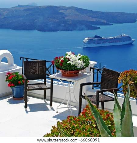 view of volcano - beautiful Thira town (Santorini) - stock photo