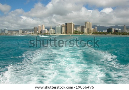 View of Waikiki beach from the boat